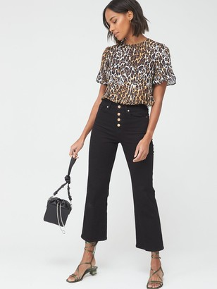 Very Ruffle Sleeve Shell Top - Leopard Print