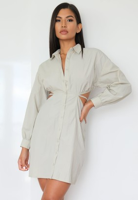 Missguided Sage Cut Out Tie Back Shirt Dress