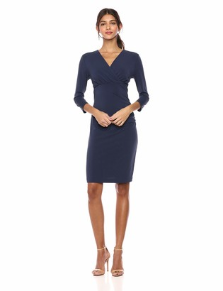 Lark & Ro Crepe Knit Cross-over Empire Wrap Dress Navy US 8 (EU M)