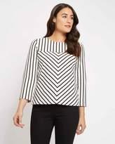 Jaeger Cotton Contrast Stripe Top