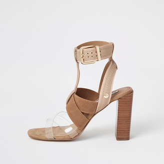 River Island Beige elasticated block heel sandals