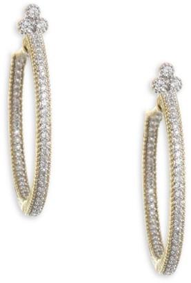 Jude Frances Medium Provence Pave Diamond Hoop Earrings