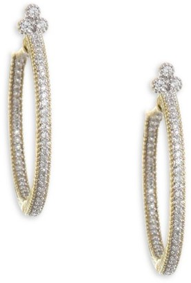 Jude Frances Provence 18K Yellow Gold & Diamond Pave Medium Hoop Earrings