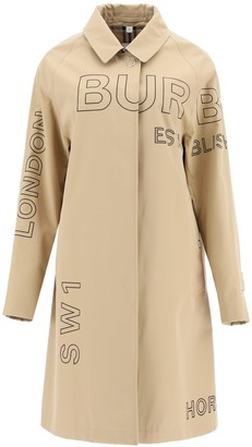 Burberry Logo Print Button-Down Trench Coat