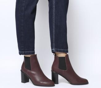 Office Answer Block Heel Chelsea Boots Burgundy