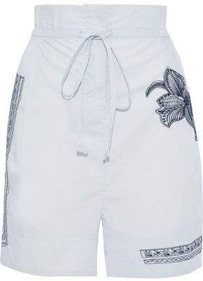 Acne Studios Maurice Gathered Embroidered Cotton-poplin Shorts