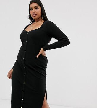ASOS DESIGN Curve sweetheart neck popper front midi dress in black