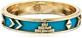 House Of Harlow Gold-Tone and Teal Faux-Suede Bangle Bracelet