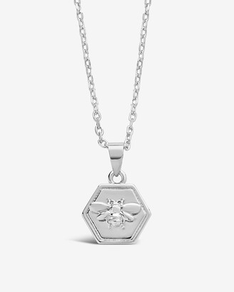 Express Sterling Forever Hexagon Bee Pendant Necklace