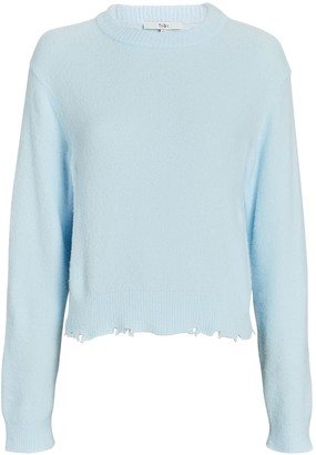 Tibi Fondue Distressed Crewneck Sweater