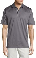 Peter Millar Solid Lisle-Knit Cotton Polo Shirt, Gray