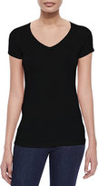 Neiman Marcus Majestic Paris for Soft Touch Short-Sleeve V-Neck Tee