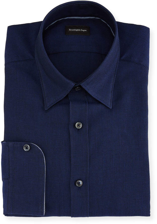 Ermenegildo Zegna Woven Mesh Dress Shirt Navy