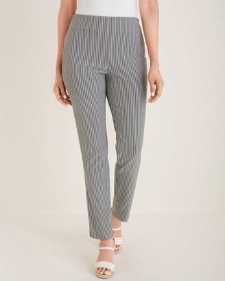 So Slimming Brigitte Railroad-Striped Slim Ankle Pants