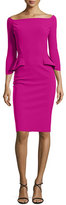 La Petite Robe di Chiara Boni 3/4-Sleeve Off-the-Shoulder Peplum Sheath Dress, Cyclamen