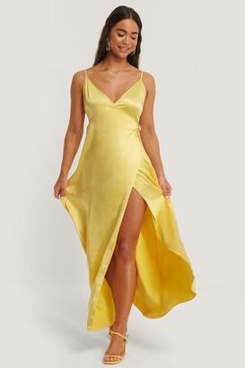 NA-KD Thin Strap Satin Slit Dress