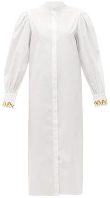Salim Azzam - Embroidered-cuff Balloon-sleeve Cotton Shirt Dress - White