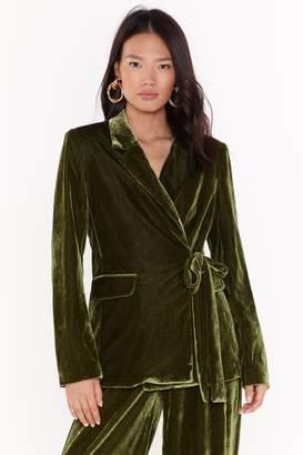 Nasty Gal Womens Power Dressing Belted Velvet Blazer - green - 4