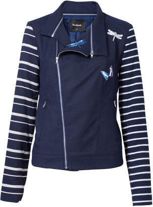 Desigual Women's Non-Denim Casual Jackets 5000 - Navy & White Stripe Dragonfly Diagonal-Zip Jacket - Women
