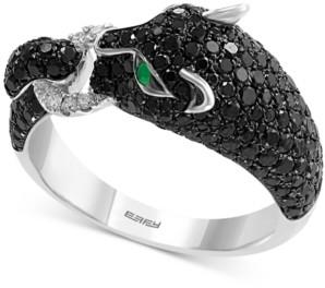 Effy Diamond (1-1/2 ct. t.w.) & Emerald Accent Big Cat Statement Ring in 14k White Gold