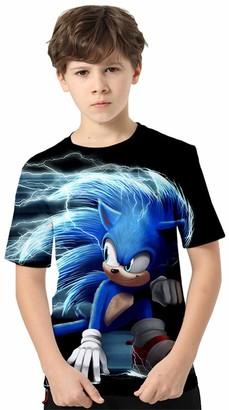 Silver Basic Boys Sonic The Hedgehog Let's Roll T-Shirt Kids Size 3D Printed Sonic Cartoon T Shirt Fashion Summer Top Sonic Cosplay Custume Shirt 130