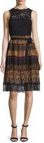 Etro Paisley Tiered-Lace Sleeveless Dress, Black/Gold