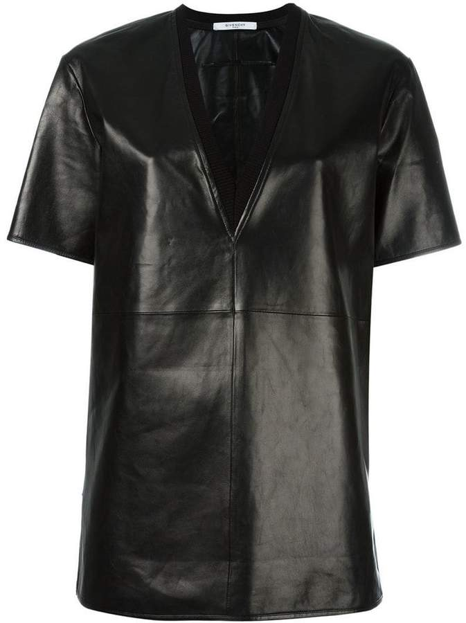 Givenchy V-neck leather T-shirt