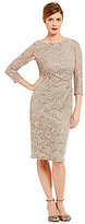 Jessica Howard Boat Neck 3/4 Sleeve Side-Ruched Lace Dress