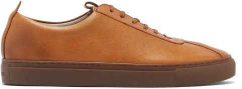 grenson leather trainers