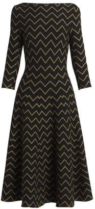 Alaia Nazare Lurex Zig Zag Midi Dress