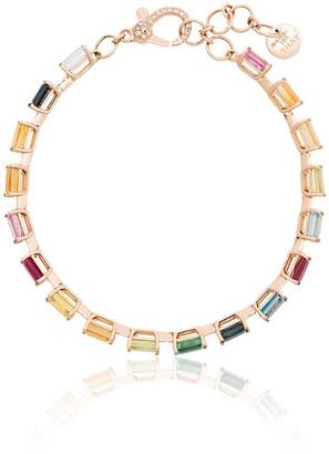 Shay 18K yellow gold and multicoloured rainbow gem bracelet