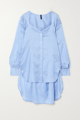 Unravel Project Asymmetric Striped Silk-satin Shirt - Light blue