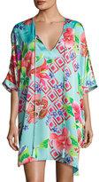 Natori Star Blossom Short Caftan Dress