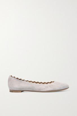 Chloé Lauren Scalloped Suede Ballet Flats - Stone