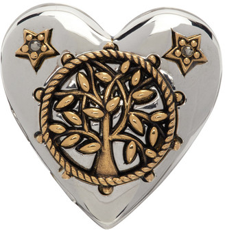 Alexander McQueen Silver and Gold Heart Locket Ring