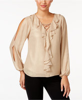 Thalia Sodi Lace-Up Ruffled Blouse, Only at Macy's