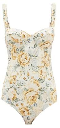 Ephemera - Balconette Floral-print Swimsuit - Yellow Multi