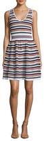 Sandro Pointelle Striped Flared Dress