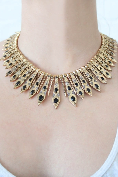 House Of Harlow Gypsy Feather Necklace in Gold