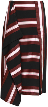 Cédric Charlier Draped Striped Twill Skirt
