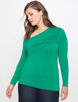 ELOQUII Plus Size Long Sleeve Criss Cross Top