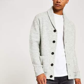 River Island Mens Grey knitted shawl collar cardigan