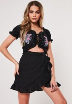 Missguided Black Embroidered Cut Out Milkmaid Mini Dress
