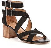 GB Cross-Back Nubuck Banded Double Ankle Strap Block Heel Sandals