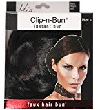 "Mia Clip-n-Bun-Instant Bun That Clips On! Made of Synthetic/Faux Wig Hair-Black Color-Measures 5"" Diameter x 2.5"" Deep (1 piece per package)"