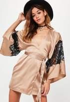 Missguided Silky Kimono Lace Insert Shift Dress