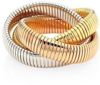 Alberto Milani Via Bagutta 18K Tri-Gold Three Row Tubogas Flex Wrap Bracelet