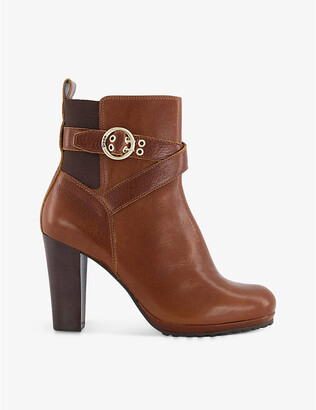 Dune Oreana buckle-detail leather ankle boots