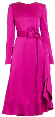 Givenchy Crepe Envers Satin Ruffle Midi Dress