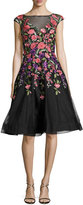 Jovani Sleeveless Embroidered Tulle Gown, Black/Multicolor